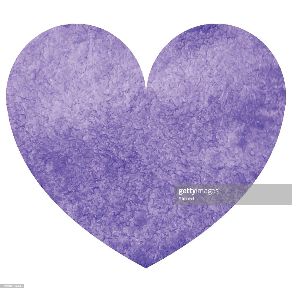 Watercolor violet heart love symbol isolated vector