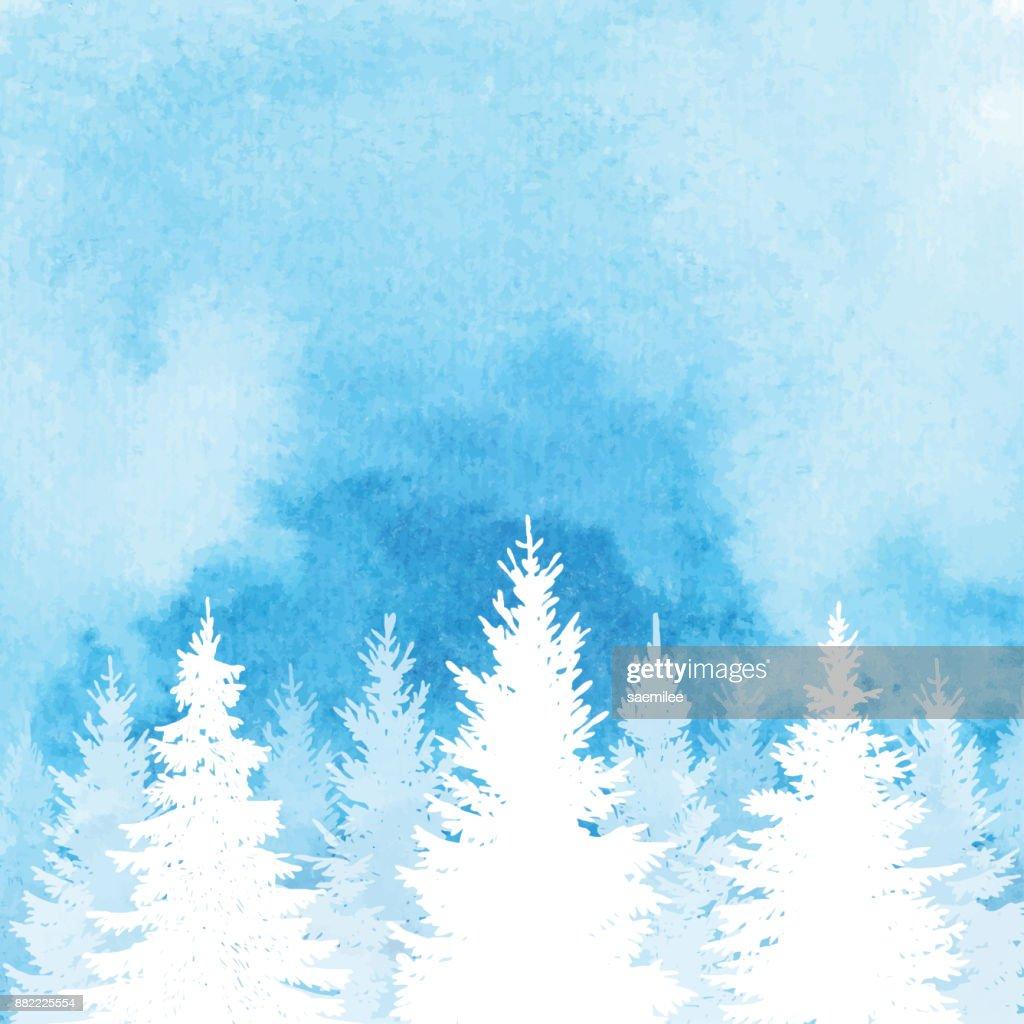 Aquarell-Winterwald Hintergrund : Stock-Illustration