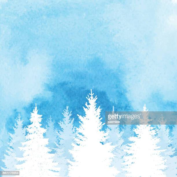 watercolor winter forest background - frost stock illustrations, clip art, cartoons, & icons