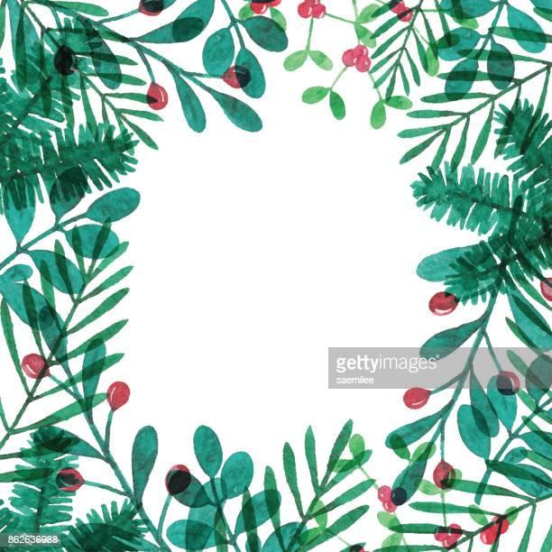 watercolor winter plants frame - mistletoe stock illustrations, clip art, cartoons, & icons