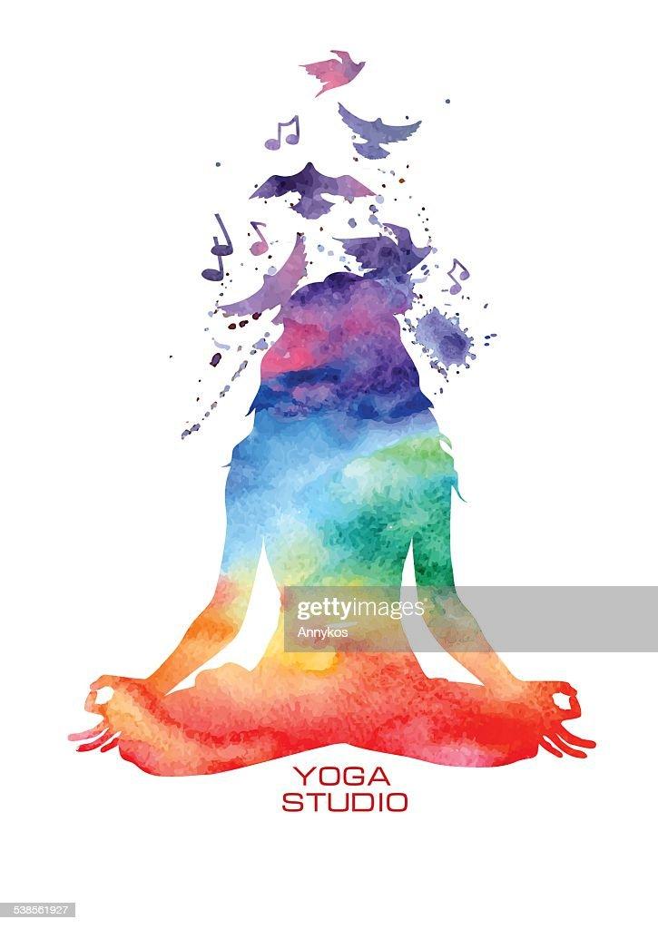 Watercolor woman silhouette of lotus yoga pose
