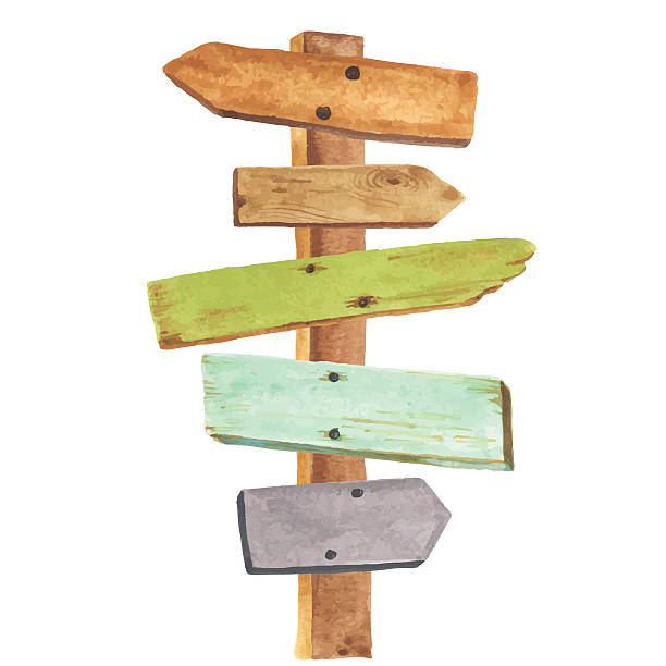 Watercolor wooden signpost