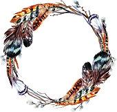 Watercolor wreath in boho style.