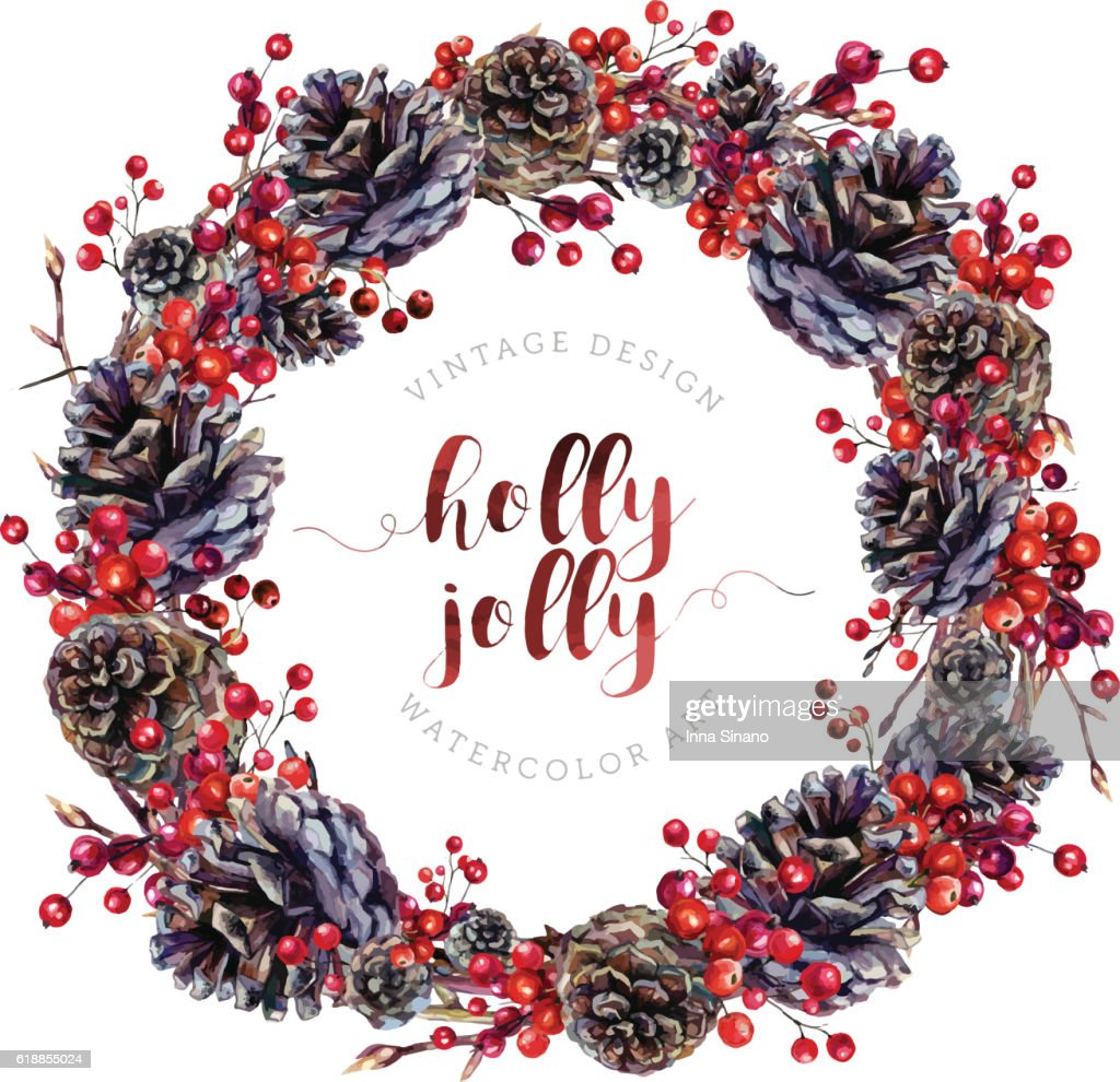 Watercolor wreath made of pine cones and berries.