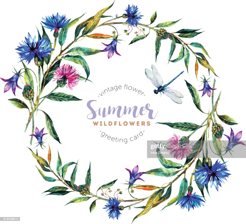 Watercolor wreath made of wildflowers.