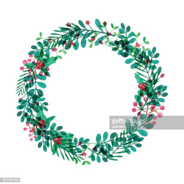 watercolor wreath with leaves and berries - christmas wreath stock illustrations