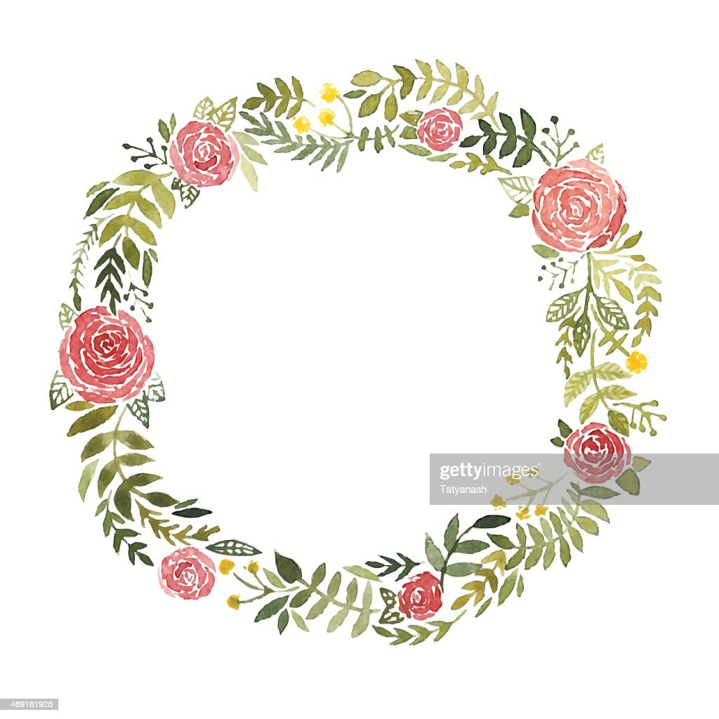 Watercolor wreath with roses and leaves