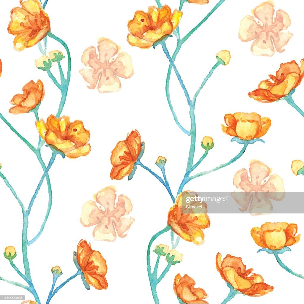 Watercolor yellow buttercups seamless pattern texture background vector