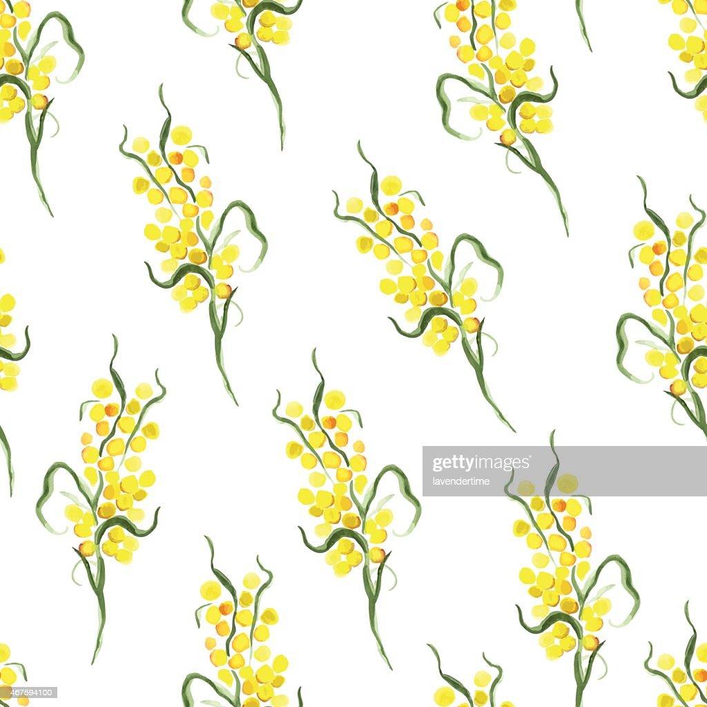 Watercolor yellow mimosa seamless vector print