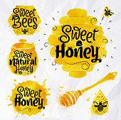 Watercolors symbols honey