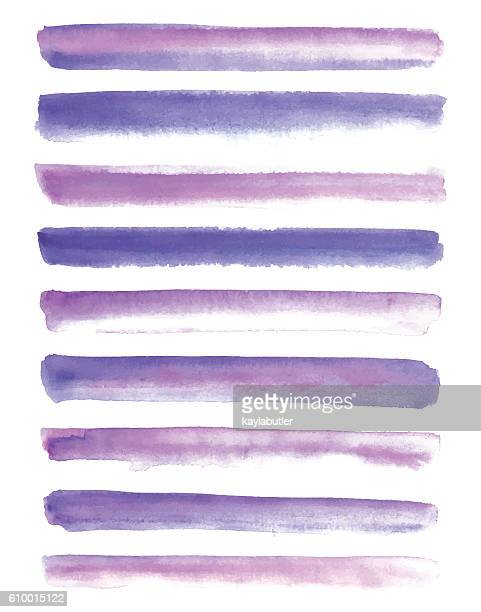 watercolour brush stroke set - lila stock-grafiken, -clipart, -cartoons und -symbole