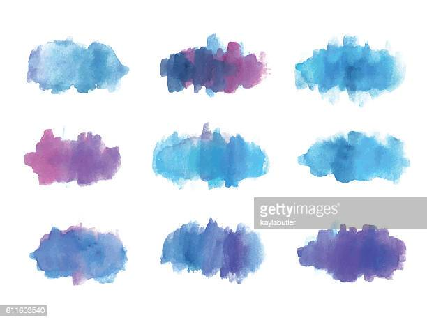 Watercolour Brush Stroke Set (Purple, Red and Blue)