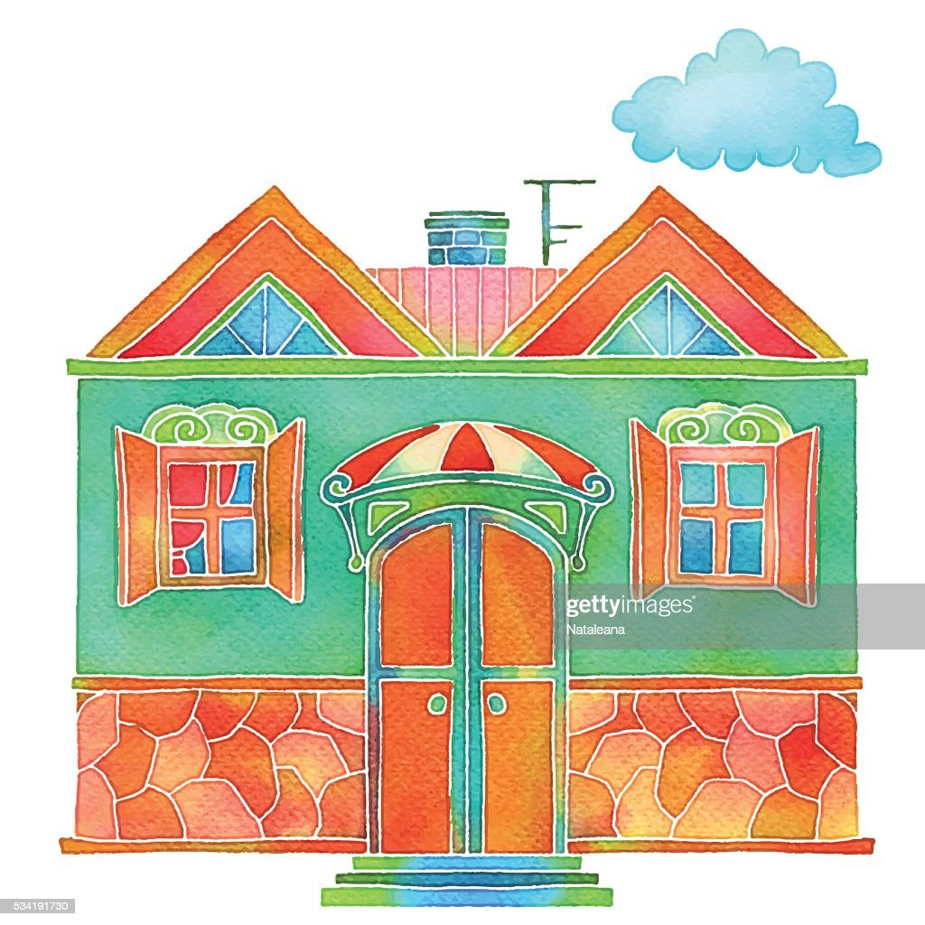 Watercolour colorful cartoon building, house exterior