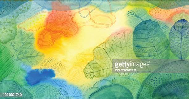 watercolour doodle background - yellow stock illustrations