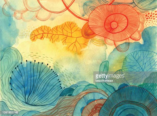 stockillustraties, clipart, cartoons en iconen met aquarel doodle achtergrond - abstract