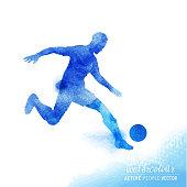 Watercolour Football Player Vector