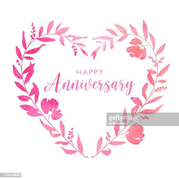 水彩画ハート フローラル リース アニバーサリーカード - 結婚記念日のカード点のイラスト素材/クリップアート素材/マンガ素材/アイコン素材