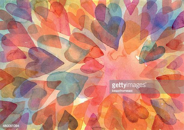 watercolour hearts pattern background - love emotion stock illustrations