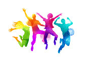 Watercolour Jumping Group of Friends Vector