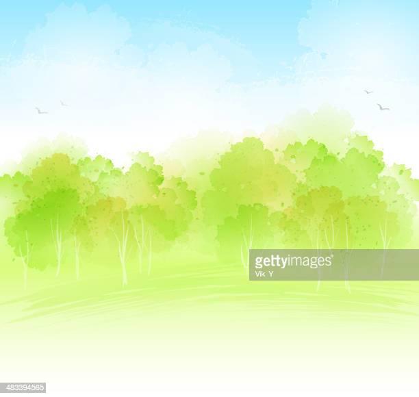 watercolour landckape