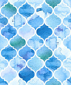 Watercolour moroccan background. Seamless vector pattern
