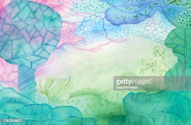 ファンタジーの森の水彩画 - 静寂点のイラスト素材/クリップアート素材/マンガ素材/アイコン素材