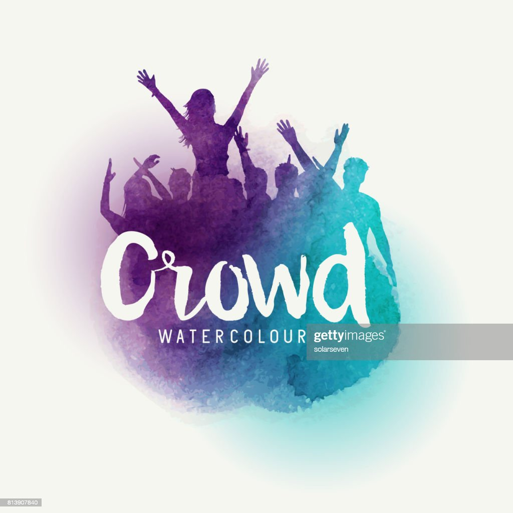 Watercolour party Crowd