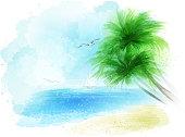 watercolour sea landckape