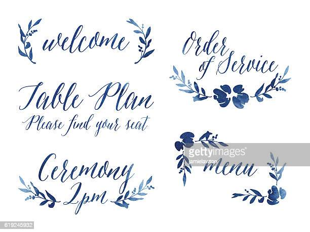 watercolour wedding design elements - single flower stock illustrations