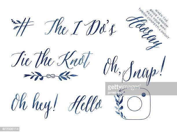 ilustraciones, imágenes clip art, dibujos animados e iconos de stock de watercolour wedding design elements - azul marino