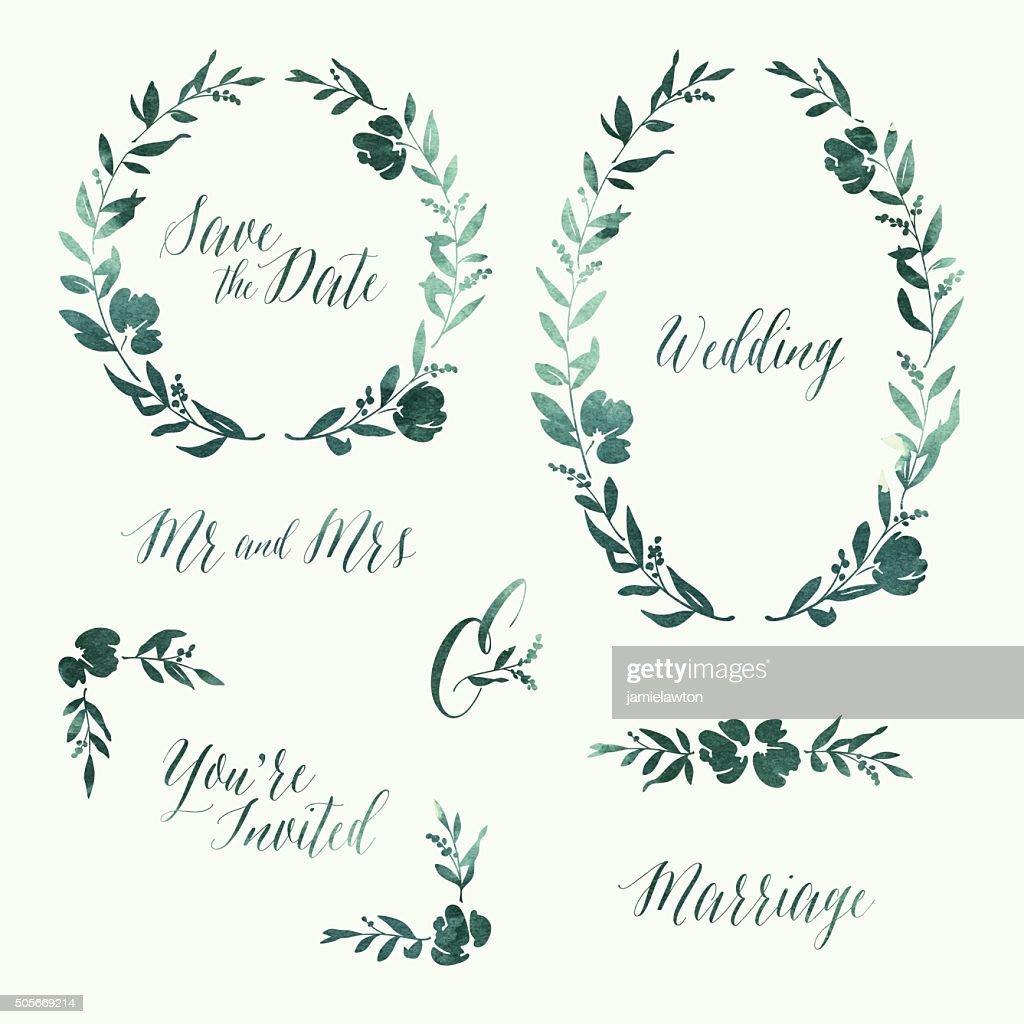 Watercolour Wedding Invitation Design Elements : stock illustration