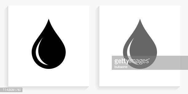 waterdrop black and white square icon - water stock illustrations