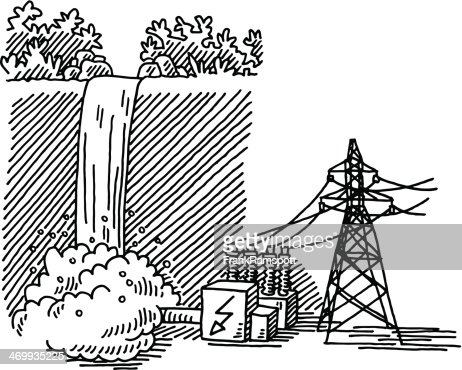 Waterfall Power Generation Drawing Vector Art Getty Images