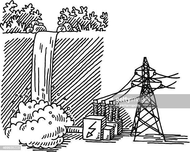 waterfall power generation drawing - waterfall stock illustrations, clip art, cartoons, & icons