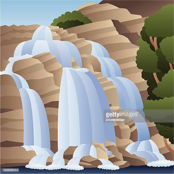 waterfall - waterfall stock illustrations, clip art, cartoons, & icons