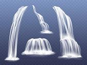 Waterfall water flow cascade vector illustration