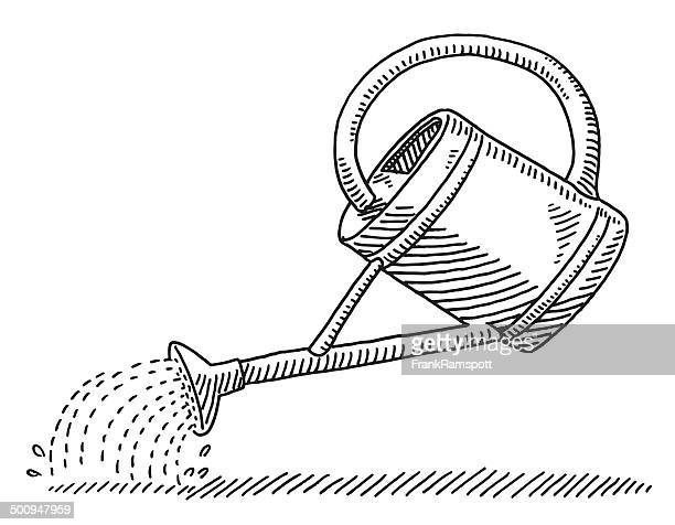 watering can drawing - watering can stock illustrations