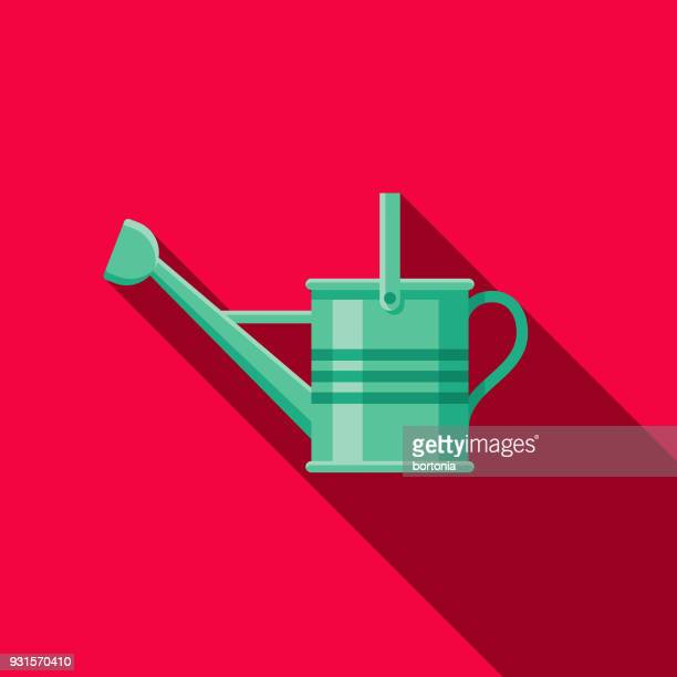 watering can flat design gardening icon with side shadow - watering can stock illustrations