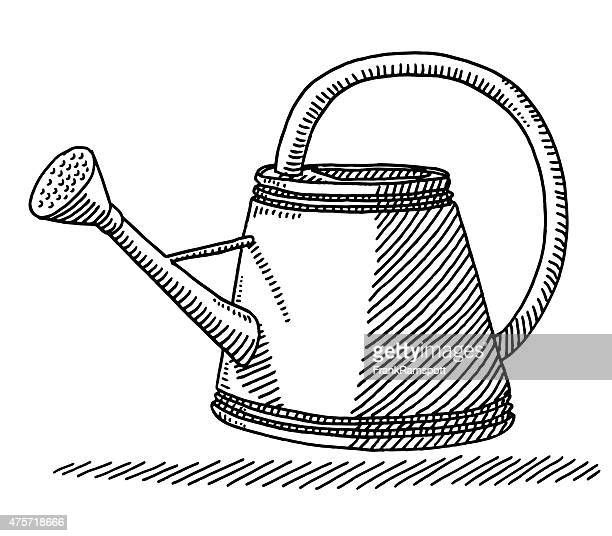watering can for gardening drawing - watering can stock illustrations, clip art, cartoons, & icons