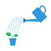 Watering can with drops and plant