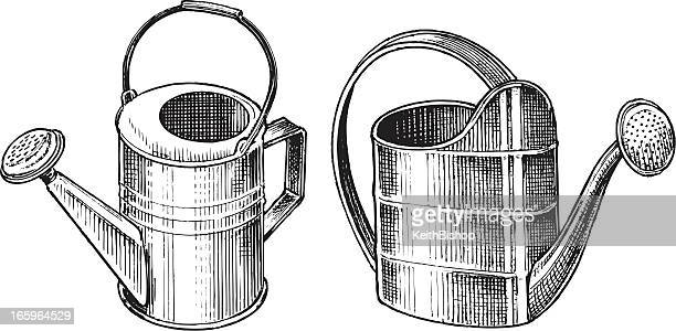 watering cans - gardening equipment - watering can stock illustrations, clip art, cartoons, & icons