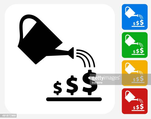 watering money icon flat graphic design - watering can stock illustrations, clip art, cartoons, & icons