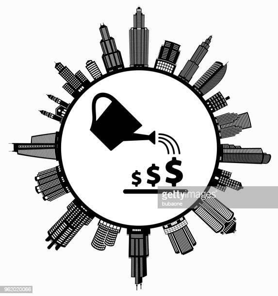 geld verdienen im modernen stadtbild skyline hintergrund bewässerung - gewerbeimmobilie stock-grafiken, -clipart, -cartoons und -symbole