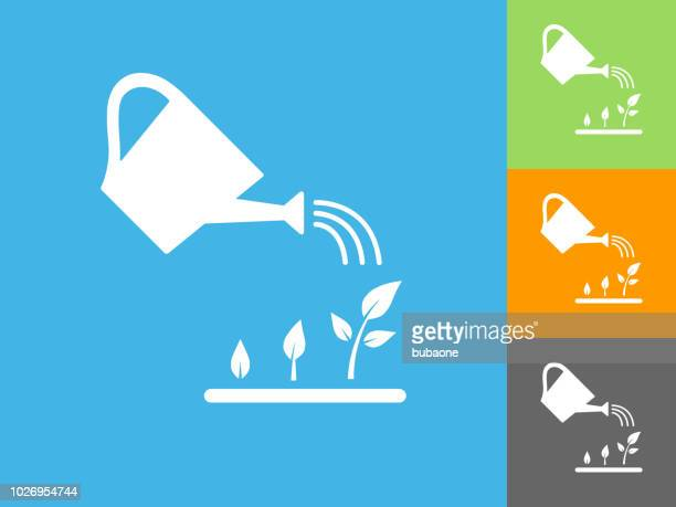 watering plants flat icon on blue background - watering can stock illustrations