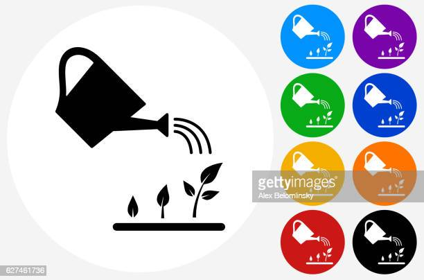 watering plants icon on flat color circle buttons - watering can stock illustrations, clip art, cartoons, & icons