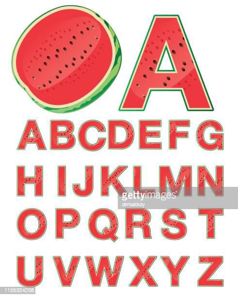 西瓜字母 - pejft 幅插畫檔、美工圖案、卡通及圖標