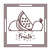 watermelon banana mango and lemon fruits doodle design