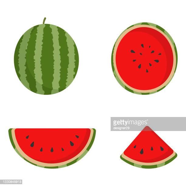 watermelon cartoon icon set vector design. - watermelon stock illustrations