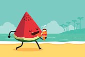 watermelon eat ice cream at the beach