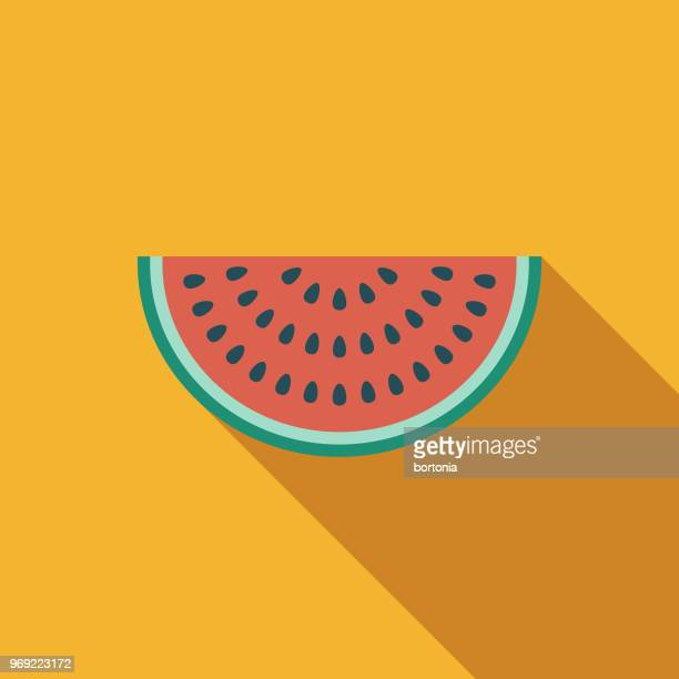 Watermelon Flat Design Summer Icon with Side Shadow